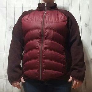 London Fog Down Sweater Jacket Womens XXL Maroon L